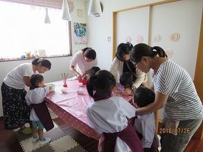 7月26日に松戸市五香の吉田教室で【親子DEおやつクッキング】第1弾《フルーツポンチを作ろう♪》が開催されました!